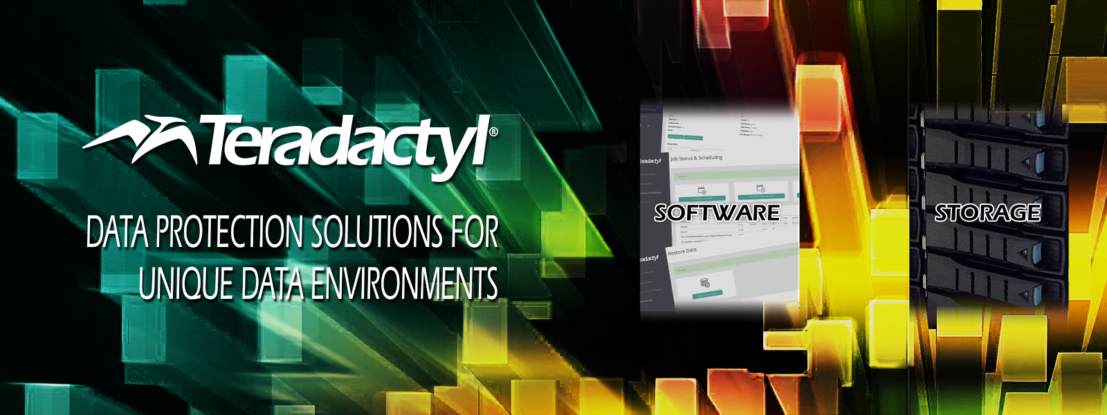Teradactyl backup solutions include software, storage, and appliances